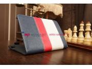 Чехол-обложка для Oysters T84 3G синий с красной полосой кожаный..