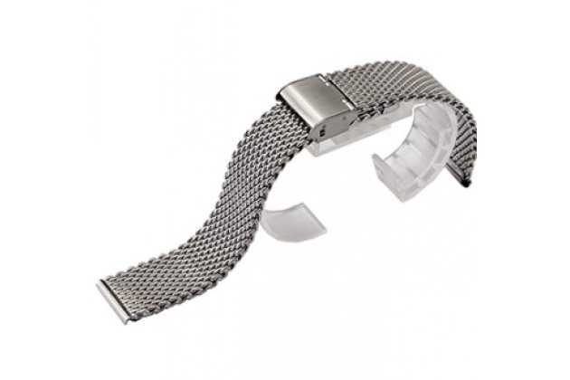 Фирменный сменный металлический плетенный ремешок для умных смарт-часов Pebble SmartWatch  из нержавеющей стали с замком-застежкой