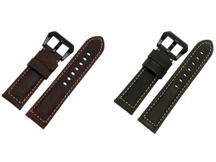 Фирменный сменный кожаный ремешок для умных смарт-часов Pebble SmartWatch/ Time Steel из качественной импортно..