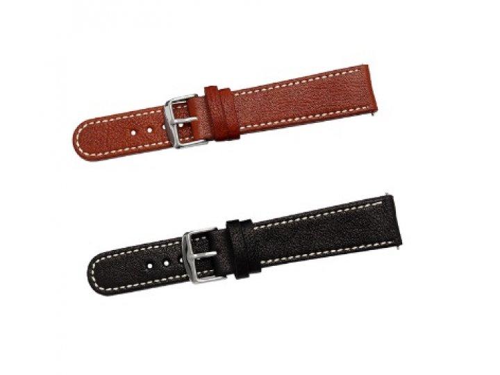 Фирменный сменный кожаный ремешок для умных смарт-часов Pebble Time Round из качественной импортной кожи..