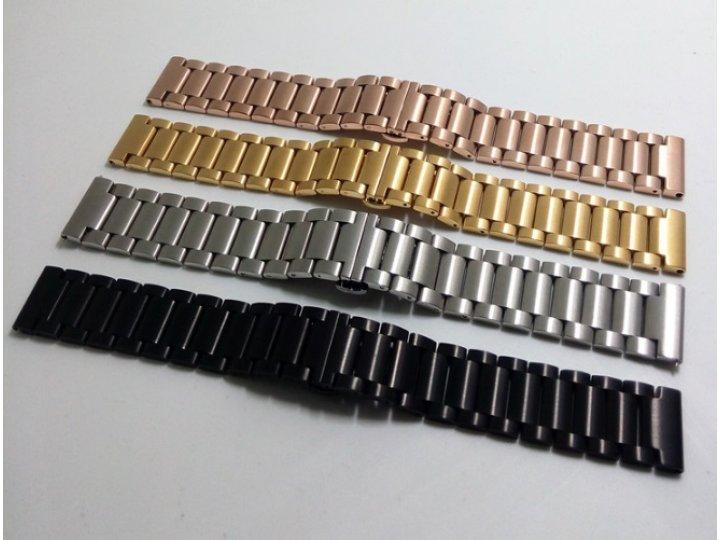 Фирменный сменный металлический ремешок для умных смарт-часов Pebble Time Steel из нержавеющей стали с замком-..