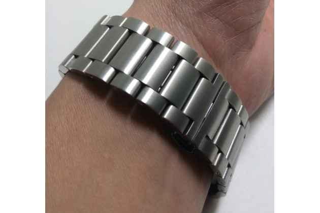 Фирменный сменный металлический ремешок для умных смарт-часов Pebble Time Steel из нержавеющей стали с замком-застежкой