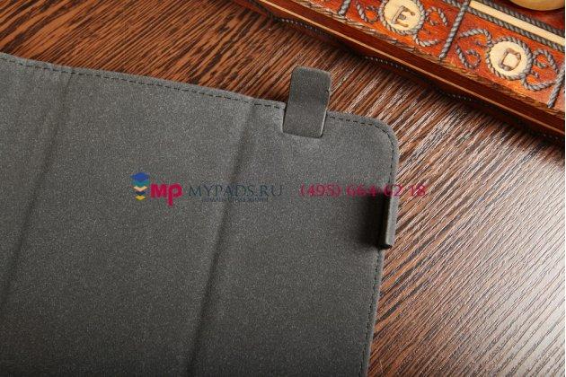 Чехол-обложка для Perfeo 1006-IPS черный с серой полосой кожаный