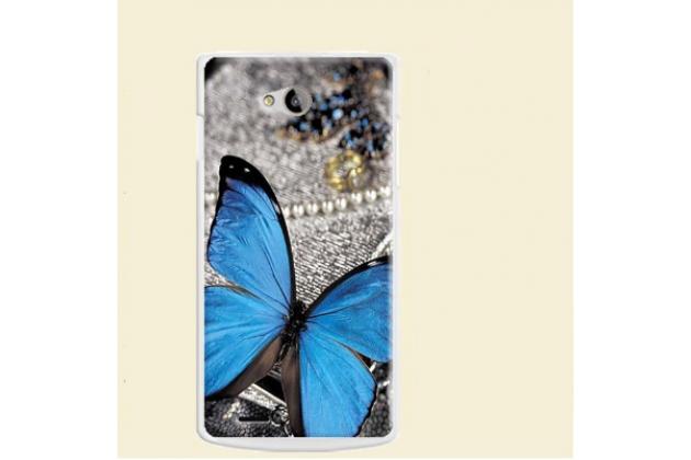 """Фирменная уникальная задняя панель-крышка-накладка из тончайшего пластика для Philips S301/S308 """"тематика Бабочка"""""""