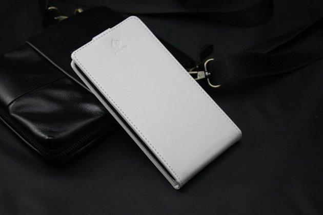 """Фирменный оригинальный вертикальный откидной чехол-флип для Philips S309 белый из натуральной кожи """"Prestige"""" Италия"""