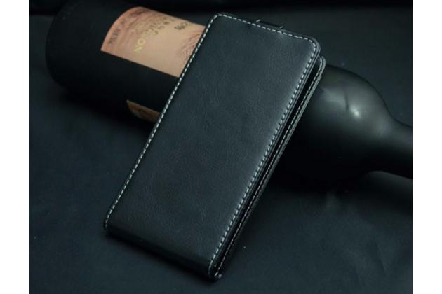 """Фирменный оригинальный вертикальный откидной чехол-флип для Philips S309 черный из натуральной кожи """"Prestige"""" Италия"""