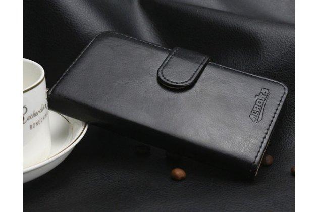 """Фирменный чехол-книжка из качественной импортной кожи с подставкой застёжкой и визитницей для Филипс С326 5.0""""  черный"""