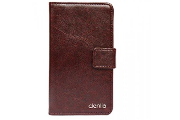 """Фирменный чехол-книжка из качественной импортной кожи с подставкой застёжкой и визитницей для Philips S326 5.0"""" коричневый"""