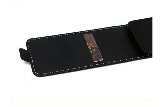 """Фирменный оригинальный вертикальный откидной чехол-флип для Philips S326 5.0""""  черный кожаный"""