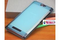 Фирменная ультра-тонкая полимерная из мягкого качественного силикона задняя панель-чехол-накладка для Philips S396 голубая