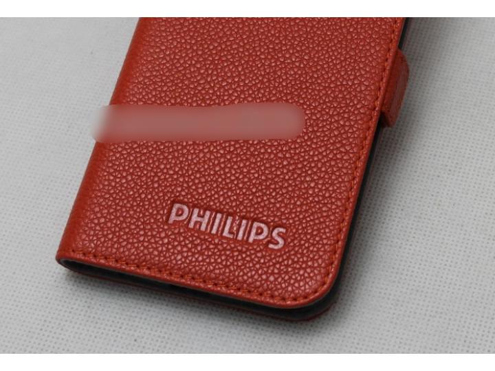 Фирменный оригинальный подлинный чехол с логотипом для Philips S616 из натуральной кожи красный..