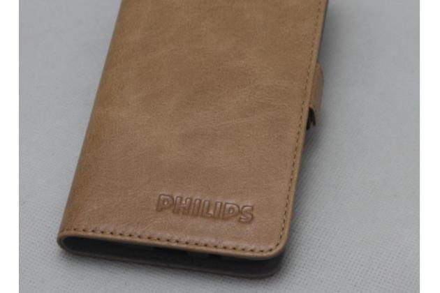 Фирменный оригинальный подлинный чехол с логотипом для Philips S616 из натуральной кожи светло-коричневый
