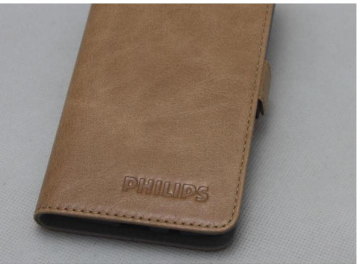 Фирменный оригинальный подлинный чехол с логотипом для Philips S616 из натуральной кожи светло-коричневый..