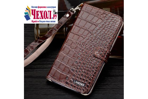 Фирменный оригинальный чехол-книжка для Philips Xenium V526/V526 LTE коричневый из лаковой кожи крокодила
