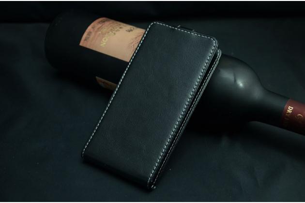 Фирменный оригинальный вертикальный откидной чехол-флип для Philips Xenium V787 черный из натуральной кожи Prestige