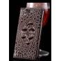 Фирменный элегантный экзотическый чехол-книжка с фактурной отделкой натуральной кожи крокодила кофейного цвета..