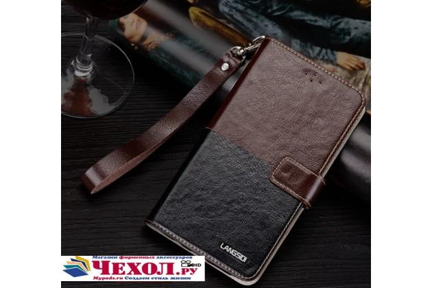 """Фирменный оригинальный чехол-книжка с визитницей и мультиподставкой для  Philips Xenium V787"""" черно-коричневый кожаный"""