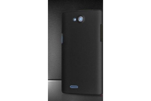Фирменная задняя панель-крышка-накладка из тончайшего и прочного пластика для Philips Xenium W3500 черная