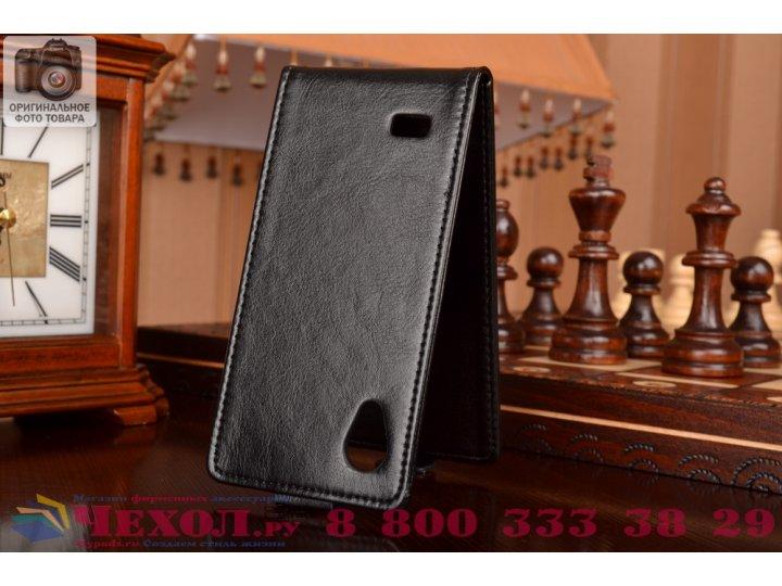 Фирменный оригинальный вертикальный откидной чехол-флип для Philips Xenium W6350 черный кожаный