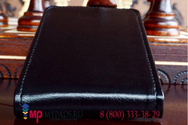 """Фирменный оригинальный вертикальный откидной чехол-флип для Philips Xenium W6500 черный кожаный """"Prestige"""" Италия"""