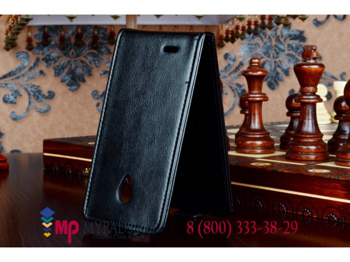 Фирменный оригинальный вертикальный откидной чехол-флип для Philips Xenium W6500 черный кожаный