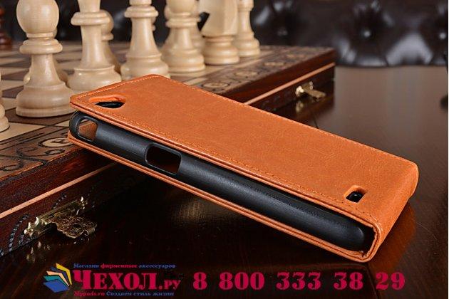 Фирменный оригинальный вертикальный откидной чехол-флип для Philips Xenium W6618  из качественной импортной кожи коричневый Золотое Цветение