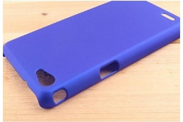 Фирменная задняя панель-крышка-накладка из тончайшего и прочного пластика для Philips Xenium W6618 / W6610 голубая