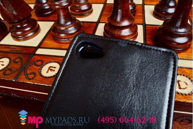 Фирменный оригинальный вертикальный откидной чехол-флип для Philips Xenium W6618/W6610 черный кожаный
