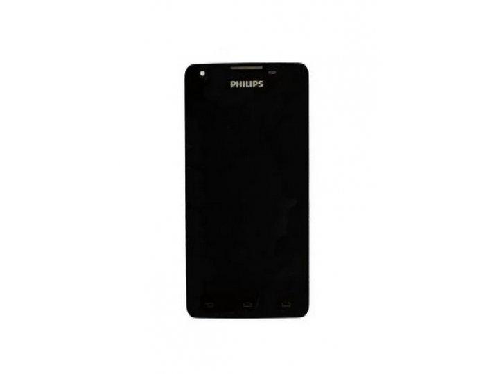 Фирменный LCD-ЖК-сенсорный дисплей-экран-стекло с тачскрином на телефон Philips Xenium W6618 / W6610  черный +..