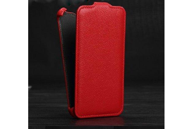 Фирменный оригинальный вертикальный откидной чехол-флип для Philips Xenium W6618 / W6610  из качественной импортной кожи красный