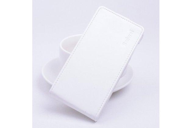 Фирменный оригинальный вертикальный откидной чехол-флип для Philips Xenium W6618  из качественной импортной кожи белый