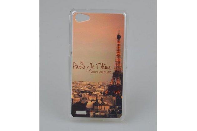 """Фирменная уникальная задняя панель-крышка-накладка из тончайшего пластика для Philips Xenium W6618  """"тематика Париж"""""""