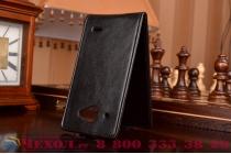 """Фирменный оригинальный вертикальный откидной чехол-флип для Philips Xenium W8500 черный кожаный """"Prestige"""" Италия"""
