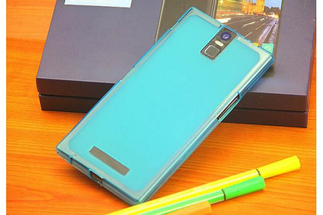 Фирменная ультра-тонкая полимерная из мягкого качественного силикона задняя панель-чехол-накладка для Philips i999 голубая