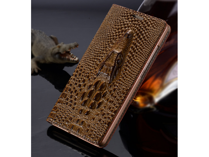 Фирменный роскошный эксклюзивный чехол с объёмным 3D изображением кожи крокодила коричневый для Philips i999 ...