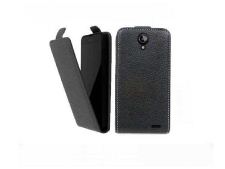Фирменный оригинальный вертикальный откидной чехол-флип для  Philips S398  черный из натуральной кожи