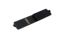 """Фирменный оригинальный вертикальный откидной чехол-флип для  Philips S398  черный из натуральной кожи """"Prestige"""" Италия"""