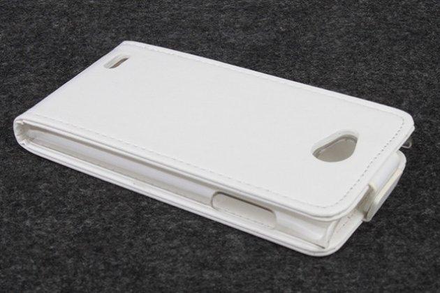 """Фирменный оригинальный вертикальный откидной чехол-флип для Philips S301/S308 белый кожаный """"Prestige"""" Италия"""