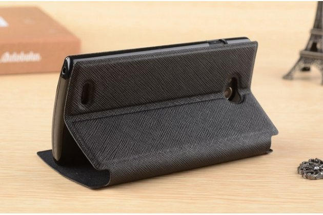Фирменный чехол-книжка для Philips S301/S308 черный с окошком для входящих вызовов и свайпом водоотталкивающий