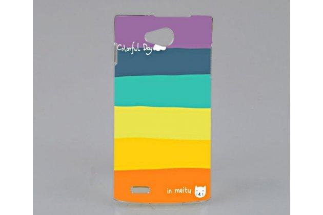 """Фирменная необычная из легчайшего и тончайшего пластика задняя панель-чехол-накладка для Philips S301/S308 """"тематика Все цвета Радуги"""""""