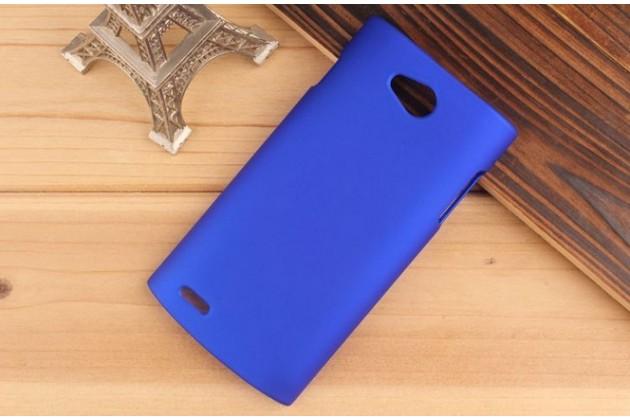 Фирменная задняя панель-крышка-накладка из тончайшего и прочного пластика для Philips S301/S308 синяя