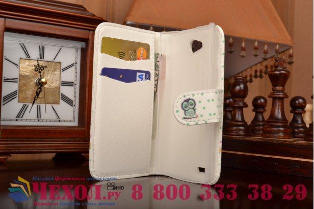 """Фирменный уникальный необычный чехол-книжка для Philips S301/S308 """"тематика Сова"""""""