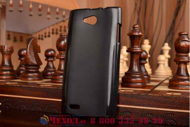 Фирменная ультра-тонкая полимерная из мягкого качественного силикона задняя панель-чехол-накладка для Philips S301/S308 черная