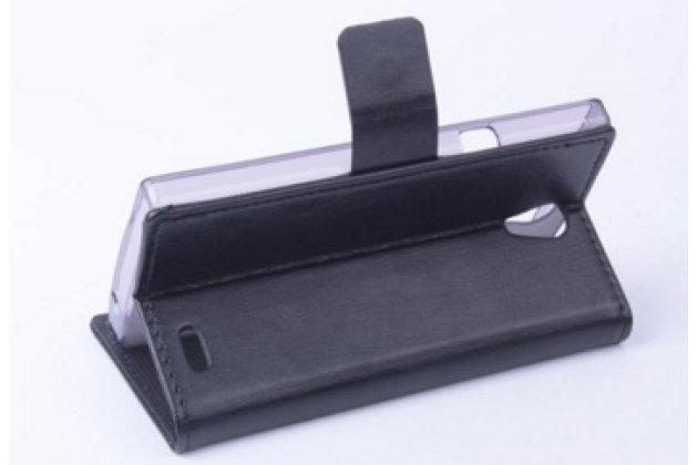 Фирменный чехол-книжка из качественной импортной кожи с мульти-подставкой застёжкой и визитницей для Филипс Ксениум Эс 399 черный