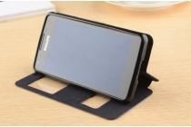 Фирменный чехол-книжка для Philips Xenium W6610 черный с окошком для входящих вызовов и свайпом водоотталкивающий