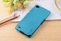 Фирменная ультра-тонкая полимерная из мягкого качественного силикона задняя панель-чехол-накладка для Philips Xenium W6610  голубая