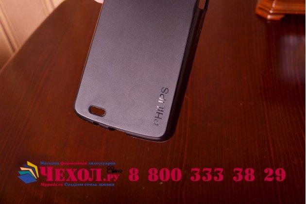 Фирменная ультра-тонкая полимерная из мягкого качественного силикона задняя панель-чехол-накладка для  Philips Xenium V387 черная