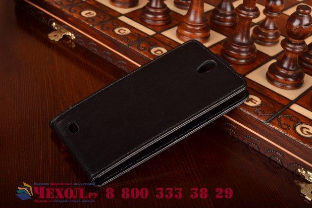 """Фирменный оригинальный вертикальный откидной чехол-флип для Philips Xenium V387 черный кожаный """"Prestige"""" Италия"""
