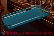 Фирменная ультра-тонкая полимерная из мягкого качественного силикона задняя панель-чехол-накладка для Philips Xenium V387 голубая