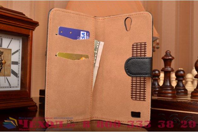 Фирменный чехол-книжка из кожи с мульти-подставкой застёжкой и визитницей для Philips Xenium V387 черный